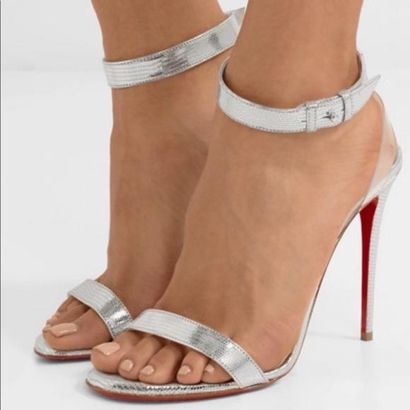 half off e842f a4d1d Christian Louboutin Joantina Silver Heeled Sandals